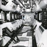 Futuristic metal Sci-Fi Corridor tunnel or ship interior . 3d rendering illustration . royalty free illustration