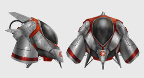 Futuristic metal spaceship vehicle. Isolated metal grungy futuristic spaceship vehicle with red stripes front and profile view illustration Royalty Free Stock Images
