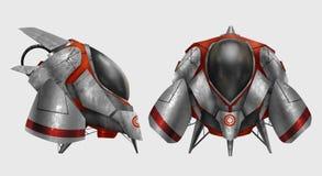 Futuristic metal spaceship vehicle. Royalty Free Stock Images