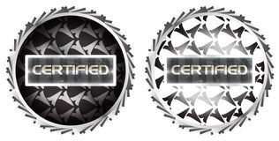 Futuristic Metallic Certified Stamp Symbol Sticker. A futuristic metallic certification stamp Royalty Free Stock Image