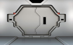 Futuristic metallic door Stock Photo
