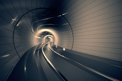 Futuristic metro tunnel. Royalty Free Stock Photo