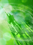Futuristic metropolis, radial HUD elements & green bokeh Royalty Free Stock Image