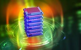 Futuristic mining farm. Big Data analytics platform. Quantum processor in the global computer network vector illustration