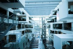 Futuristic modern architecture, cubicles and bricks interioor Royalty Free Stock Images