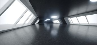 Futuristic Modern Big Dark Empty Hall With Reflections And Big G. Lowing White Light Windows Aside Wallpaper 3D Rendering Illustration royalty free illustration