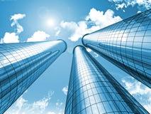 Futuristic modern blå stadsskyskrapasky Fotografering för Bildbyråer