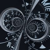 Futuristic modern black silver clock watch abstract fractal surreal double spiral. Watch clock unusual abstract texture pattern vector illustration