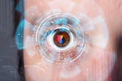 Futuristic modern cyber man with technology screen eye panel. Concept Stock Photos
