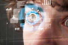 Futuristic modern cyber man with technology screen eye panel Stock Image