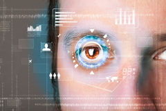 Futuristic modern cyber man with technology screen eye panel Royalty Free Stock Images