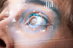 Futuristic modern cyber man with technology screen eye panel Royalty Free Stock Photos