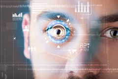 Futuristic modern cyber man with technology screen eye panel Stock Images