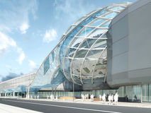 Futuristic modern design mega mall glass and steel. Futuristic modern design mega mall glass and steel dome and wavy shape. 3D render Royalty Free Stock Photo