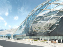 Futuristic modern design mega mall glass and steel. Futuristic modern design mega mall glass and steel dome and wavy shape. 3D render Royalty Free Stock Image