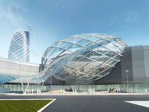 Futuristic modern design mega mall glass and steel. Futuristic modern design mega mall glass and steel dome and wavy shape. 3D render Stock Photo