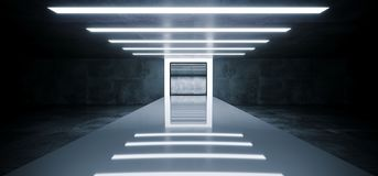 Futuristic Modern Empty Sci Fi Grunge Concrete Reflective Room W. Ith White Led Lights And Stage Arena Background Spaceship Concept Glowing White Rectangle Light royalty free illustration