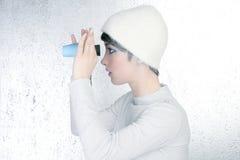 Futuristic modern fashion woman blue binocular Stock Images