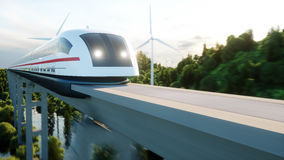 Futuristic, modern Maglev train passing on mono rail. Ecological future concept. Aerial nature view. 3d rendering. Royalty Free Stock Image