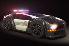 Futuristic Modern Police car cruiser. With full array of lights Royalty Free Stock Image
