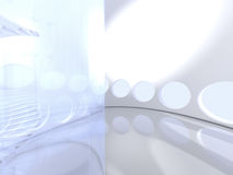 Futuristic modern round indoor with glass Royalty Free Stock Images