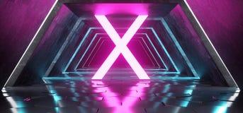 Futuristic Modern Sci Fi Alienship Hexagon Floor Reflective Tunn royalty free illustration