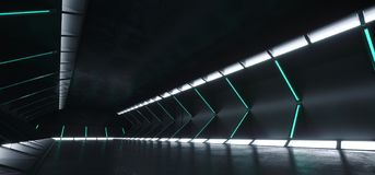Futuristic Modern Sci Fi Dark Empty Spaceship Tunnel Corridor Ro. Om With Blue White Glowing Lights And Reflections Technology Concept 3D Rendering Background vector illustration