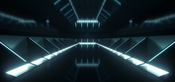 Futuristic Modern Sci Fi Dark Empty Spaceship Tunnel Corridor Ro. Om With Blue White Glowing Lights And Reflections Technology Concept 3D Rendering Background stock illustration