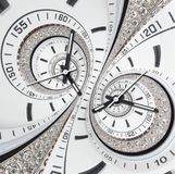 Futuristic modern strass diamond white clock watch abstract fractal surreal double spiral. Watch clock unusual abstract clock royalty free stock images