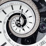 Futuristic modern strass diamond white clock watch abstract fractal surreal spiral. Watch clock unusual abstract texture pattern royalty free stock image