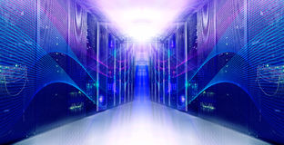 Futuristic modern symmetric server room in the data center. Futuristic modern server room in data center stock photos