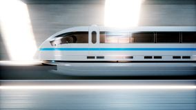 Futuristic modern train, monorail fast driving in sci fi tunnel, coridor. Concept of future. 3d rendering. Stock Photos