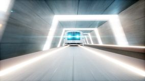 Futuristic modern train, monorail fast driving in sci fi tunnel, coridor. Concept of future. 3d rendering. Stock Photography