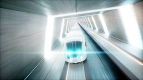 Futuristic modern train, monorail fast driving in sci fi tunnel, coridor. Concept of future. Realistic 4k animation. Futuristic modern train, monorail fast stock footage
