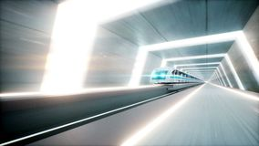 Futuristic modern train, monorail fast driving in sci fi tunnel, coridor. Concept of future. Realistic 4k animation. Loopable stock video footage