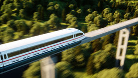 Futuristic, modern train passing on mono rail. Ecological future concept. Aerial nature view. 3d rendering. Royalty Free Stock Photography