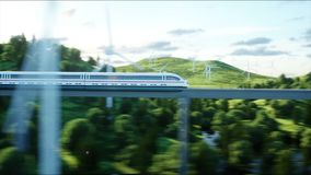 Futuristic, modern train passing on mono rail. Ecological future concept. Aerial nature view. photorealistic 4K stock footage
