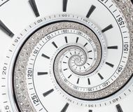 Futuristic modern white clock watch abstract fractal surreal spiral. Watch clock unusual abstract texture pattern fractal backgrou. Nd. Stylish fractal spiral Royalty Free Stock Images