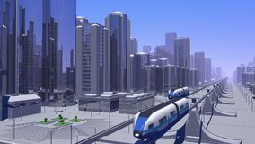 Futuristic Monorail Train stock footage
