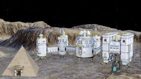 Futuristic moon colony animation