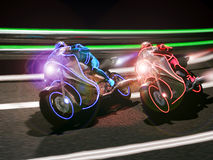 Futuristic motorcycle race. A futuristic motorcycle race, reminding those of a famous movie Stock Photography