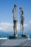 Futuristic moving metal sculpture Love of Ali and Nino,Batumi Stock Image