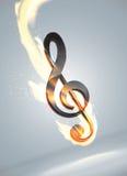 Futuristic music note in flame. Falling futuristic music note in flame Royalty Free Stock Photography