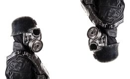 Futuristic nazi soldier collage. Futuristic nazi soldier gas mask and steel helmet isolated on white studio shot closeup portrait Stock Photography