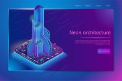 Futuristic neon architecture isometric web banner vector illustration