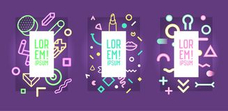 Futuristic Neon Frames with Abstract Geometric Elements. Modern Art Graphics for Flyers, Posters, Banners, Placards vector illustration