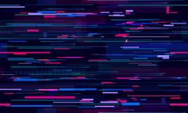 Futuristic neon glitch background. Glitched nightlife tech lines, street light motion and technology seamless pattern royalty free illustration