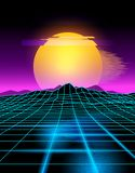 Neon Futuristic Background. Futuristic neon grid lines and mountain landscape with a neon sun in pink and yellow. Glitch background vector illustration Stock Photos