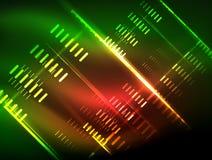 Futuristic neon lights on dark background, digital abstract techno backgrounds vector illustration