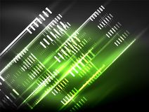 Futuristic neon lights on dark background, digital abstract techno backgrounds Stock Image